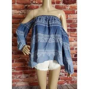 GUC Surf Gypsy Blue Off Shoulder Blouse XSmall